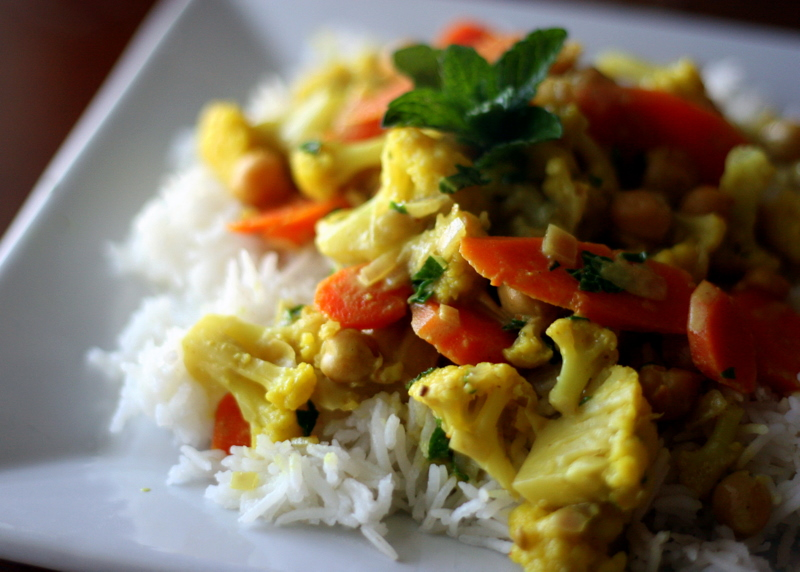 Cauliflower, Carrots and Chickpea Coconut Curry